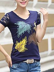 cheap -Women's Plus Size Cotton T-shirt - Trees / Leaves Print V Neck / Summer