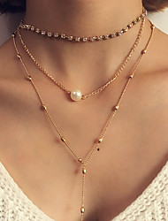 Women's Layered Necklaces Imitation Pearl Circle Oval Round Geometric Jewelry Plastic Alloy Tassel Fashion Bohemian Punk Personalized