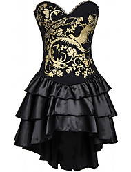 economico -Per donna Gancetti Vestiti con corsetto, Medio spessore Poliestere Nero