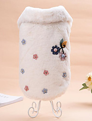 cheap -Cat Dog Sweatshirt Dog Clothes Floral/Botanical Beige Coffee Flannel Fabric Costume For Pets Casual/Daily Keep Warm Wedding New Year's