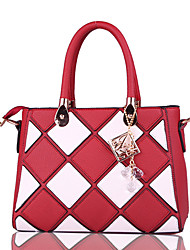 cheap -Women Bags PU Tote for Formal Office & Career All Seasons Blue Black Red Blushing Pink Purple