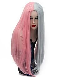 abordables -Perruque Synthétique Femme Droit Rose Cheveux Synthétiques Rose / Gris Perruque Long Sans bonnet Rose / Violet
