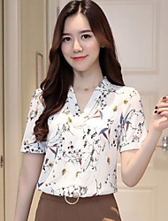 cheap -Women's Cotton Blouse - Solid Colored Floral Print V Neck