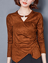Women's Going out Casual/Daily Simple Blouse,Solid Round Neck Long Sleeves Silk