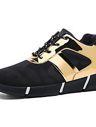 cheap -Women's Athletic Shoes Comfort Summer Fall Fabric Walking Shoes Casual Lace-up Flat Heel Gold Black Silver Ruby Flat