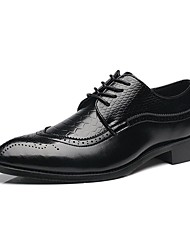 cheap -Men's Shoes Leather Spring Summer Fall Winter Comfort Formal Shoes Oxfords Lace-up For Wedding Party & Evening Office & Career Black Red