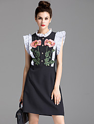 cheap -ZIYI Women's Daily A Line Dress,Solid Embroidered Round Neck Above Knee Sleeveless Polyester Spring Summer Mid Rise Micro-elastic Medium