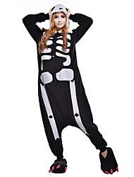 Pijama Kigurumi Esqueleto Fantasma Pijama Macacão Pijamas Ocasiões Especiais Lã Polar Fibra Sintética Preto branco Cosplay Para Adulto