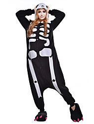 cheap -Adults' Kigurumi Pajamas Skeleton / Ghost Onesie Pajamas Costume Polar Fleece / Synthetic Fiber Black / White Cosplay For Animal Sleepwear Cartoon Halloween Festival / Holiday