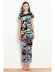 cheap -BY MEGYN Women's Daily Going out Sophisticated Summer T-shirt Pant Suits,Print Round Neck Short Sleeve Polyester