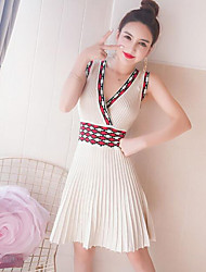 Women's Going out A Line Dress,Solid V Neck Knee-length Sleeveless Cotton Summer Mid Rise Micro-elastic Thin