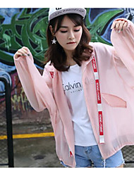cheap -Women's Daily Sports Going out Simple Casual Summer Trench Coat,Solid Stand Long Sleeve Regular Acrylic Polyester
