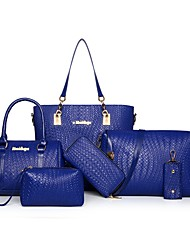 Donna Sacchetti Per tutte le stagioni PU (Poliuretano) sacchetto regola Set di borsa da 6 pezzi Cerniera per Casual Blu Bianco Nero Rosso