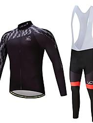 Fahrradtrikot mit Trägerhosen Unisex Langarm Fahhrad Kleidungs-Sets warm halten Dick Polyester Silikon Vlies LYCRA® Winter