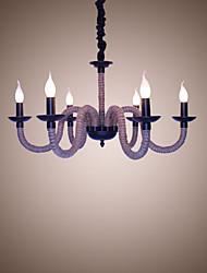 Недорогие -Чердак промышленный ветер старинные железные лампы кофейни ресторан люстры канатная люстра фары