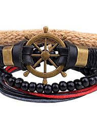 cheap -Men's Leather Bracelet Wrap Bracelet Strand Bracelet Metallic Personalized DIY Handmade Adjustable Leather Wood Alloy Anchor Jewelry