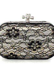 cheap -Women Bags PU Satin Clutch Lace for Event/Party Fall All Seasons Black