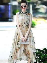 Feminino Solto Vestido,Festa Para Noite Casual Moda de Rua Sofisticado Estampado Colarinho Chinês Médio Sem Manga Seda Poliéster Verão