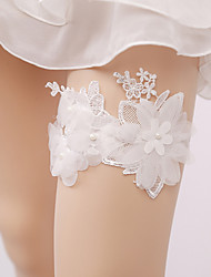 cheap -Lace Wedding Wedding Garter with Imitation Pearl Appliques Garters