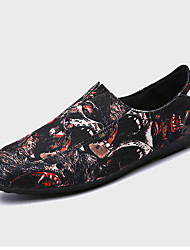 Men's Loafers & Slip-Ons Light Soles Spring Fall PU Walking Shoes Casual Flat Heel Black/White Black/Red 2in-2 3/4in
