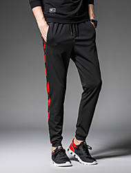 cheap -Men's Mid Rise Micro-elastic Harem Loose Chinos Sweatpants Pants,Casual Active Street chic Solid Color Block Patchwork Polyester Spandex