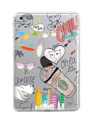 cheap -Case For Apple iPad Mini 4 iPad Mini 3/2/1 iPad 4/3/2 iPad Air 2 iPad Air Transparent Pattern Back Cover Word / Phrase Cartoon Soft TPU