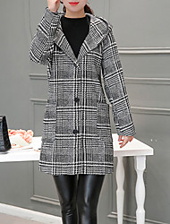 Women's Sports Going out Casual/Daily Simple Street chic Fall Winter Coat,Houndstooth Hooded Long Sleeve Long Others