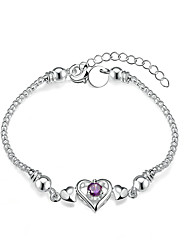 cheap -Women's Girls' Chain Bracelet Crystal Heart Geometric Friendship Fashion Simple Style Costume Jewelry Crystal Silver Plated Heart Jewelry