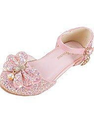 cheap -Girls' Shoes Synthetic Microfiber PU Winter Fall Flower Girl Shoes Novelty Comfort Flats Sequin Buckle for Casual Dress White Pink