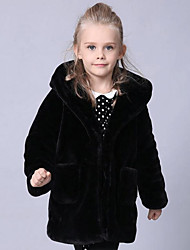 cheap -Girls' Solid Jacket & Coat,Faux Fur Special Fur Types Winter Long Sleeve Black