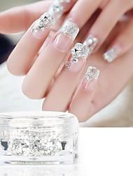 PINPAI 3PCS Nail Art Glitter Sequin Bridal Nail Glitter Mixed Silver Nail Nails Patch 5g Bottle Nail Deign And Decoration