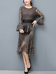 cheap -Women's Flare Sleeve Lace Dress - Solid, Lace Cut Out