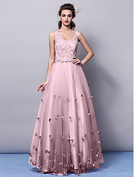 A-Line Princess V-neck Floor Length Tulle Formal Evening Dress with Appliques Flower(s) by TS Couture®