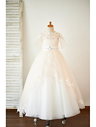 cheap -A-Line Sweep / Brush Train Flower Girl Dress - Tulle Half Sleeves Jewel Neck with Beading by LAN TING Express