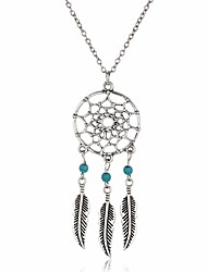 Bohemia Feather Long Chain Vintage Tassel Dream Catcher Necklaces Pendants Women Dreamcatcher Charm Jewelry