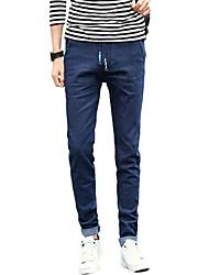 Men's Mid Rise Micro-elastic Skinny Jeans PantsSimple Slim Solid UK-959