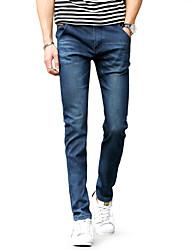Men's Mid Rise Micro-elastic Skinny Jeans PantsSimple Slim Solid UK-007