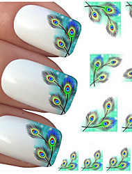 Hot Peacock Feather Nail Wraps Water Transfers Stickers Nail Art DIY Decals