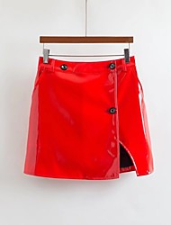 Damen Niedlich Street Schick Ausgehen Lässig/Alltäglich Mini Röcke Trompete/Meerjungfrau einfarbig Frühling Sommer Herbst