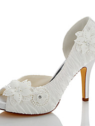 cheap -Women's Shoes Satin Summer / Fall Basic Pump Sandals Stiletto Heel Peep Toe / Open Toe Appliques / Ruffles Ivory / Wedding