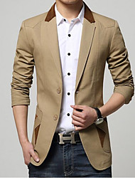 cheap -Men's Daily Simple Casual Spring Fall Blazer,Solid Shirt Collar Long Sleeve Regular Cotton Polyester
