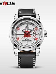 preiswerte -WEIDE Herrn Quartz Armbanduhr Japanisch Wasserdicht Echtes Leder Band Luxus Freizeit Kleideruhr Modisch Cool Schwarz