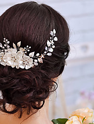 Flower Shape Pearl Tiara Bridal Floral Leaves Branch Headband Crystal Wedding Hairband Bridal Hair Accessories 1 PC