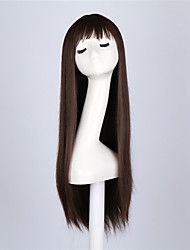 Fashion Brown Color Straight Synthetic Wigs Full Bang  Ladies Women Party Wig Daily Wearing