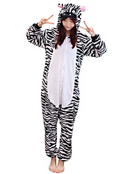 Kigurumi Pijamas Zebra Ocasiões Especiais Preto branco Flanela Kigurumi Malha Collant / Pijama Macacão Cosplay Festival / Celebração