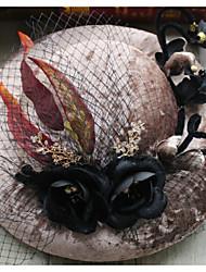 Cestaria Flanela Pena Tecido Liga Fascinador Chapéus Capacete