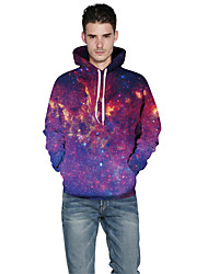 Men Realistic 3d Digital Universe Print Pullover Sports Outdoor Active Hoodie Hooded Baseball Uniform Jacket Inelastic Polyester Rainbow