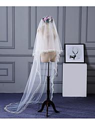 Uma Camada Borda com aplicação de Renda Borda Lápis Véus de Noiva Véu Capela Com Apliques Renda Tule