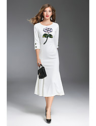cheap -MMLJ Women's Going out Cute Sheath Dress,Print Round Neck Midi 3/4 Length Sleeves Polyester Fall Mid Rise Micro-elastic Medium