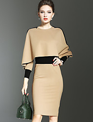 YHSPWomen's Going out Casual/Daily Simple Street chic Sophisticated Bodycon Sheath DressColor Block V Neck Knee-length Long Sleeves Polyester